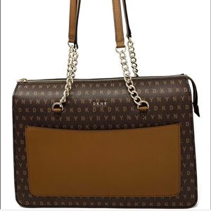 DKNY Bryant Signature Leather Zip Tote Brown
